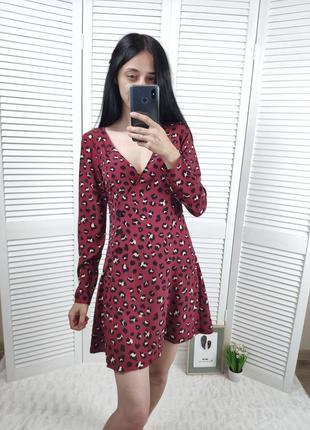 Платье на запах в животный принт h&m, р-р  s.