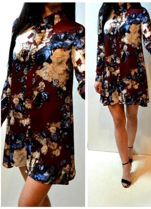 Легкое платье рубашка в принт