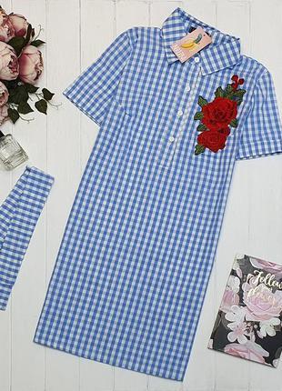 Платье рубашка в клетку с пояском