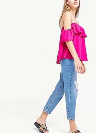 Женская блуза футболка топ с открытыми плечами stradivarius