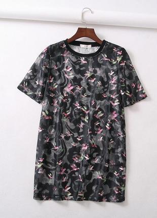 Женская футболка сетка oversize