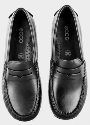 Ecco - кожаные школьные мокасины - туфли