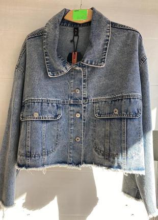 Укорочённая джинсовка джинсовая куртка oversize
