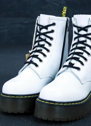 Женские ботинки dr.martens black jadon кожа, демисезон белые.