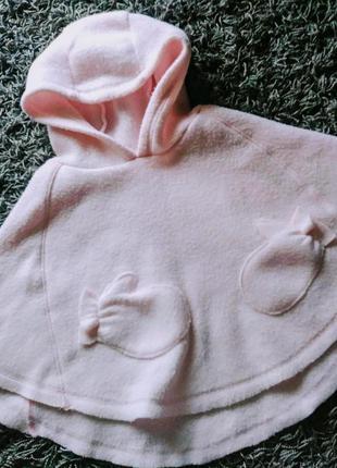 Накидка пончо на для девочки розовая 1 год 86см флисовая nice