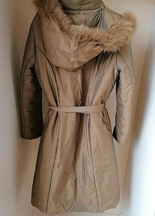 Длинная демисезонная куртка\пальто с капюшоном и натуральным м...