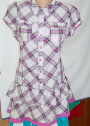 Распродажа клетчатая хлопковая блузка-туника с оборками в сире...