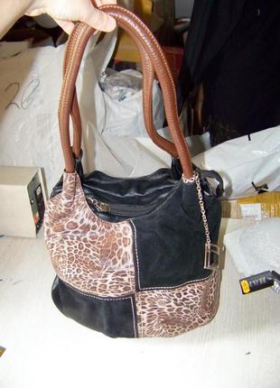 Натуральная кожа-замш сумка farfalla rosso черно-коричнево-лео...