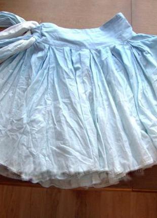 Голубая натуральная пышная юбка с бантом и легким градиентом c...