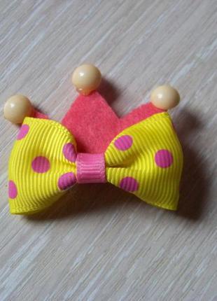 Заколка-бант-корона детская текстильная желто-розовая
