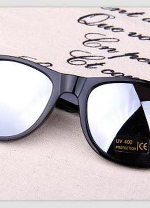 Прямоугольные классические солнцезащитные черные очки с зеркал...