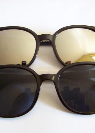 Прямоугольные классические солнцезащитные черные очки с черной...