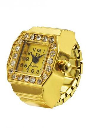 Часы-кольцо-перстень женские со стразами в золотых тонах
