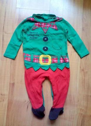 Новогодний костюм,слип, пижама эльф