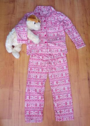 Пижама байковая с совушками на