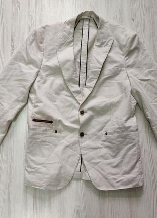 Распродажа до 30 июня 🔥 белый мужской пиджак с коричневыми дет...