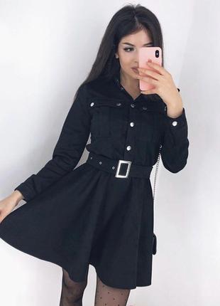 Черное замшевое мини платье с рукавом, юбка солнце клеш с ремн...