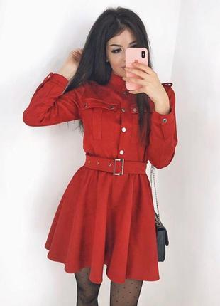 Красное замшевое мини платье с рукавом, юбка солнце клеш с рем...