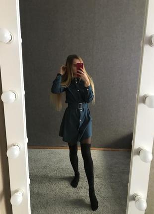 Джинсовое платье рубашка с поясом ремнем под джинс