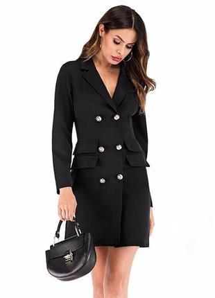 Новинка! черное платье пиджак с пуговицами тренд хит сезона го...