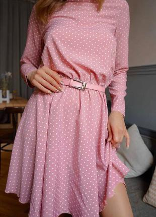 Нежное легкое летнее розовое платье в горох горошек юбка солнц...