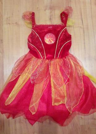 Новогоднее платье огонь чертёнок на хэллоуин 3-4 годика