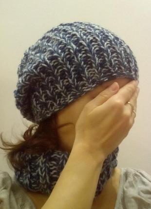 Комплект,шапка и шарф-хомут