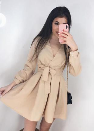 Нарядное бежевое платье на запах с ремешком тренд хит сезона г...
