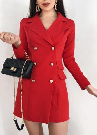 Новинка! красное платье пиджак с пуговицами тренд хит сезона г...