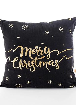 Подушка с принтом merry christmas. подарок на новый год