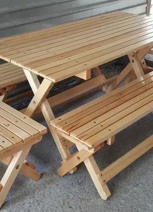 Комплект раскладной стол и лавки.