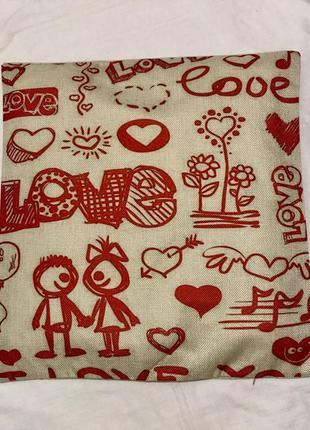 """Декоративная наволочка """"я тебя люблю"""" i love you"""
