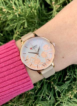 Женские наручные часы curren blanche каррен бежевые с цветами