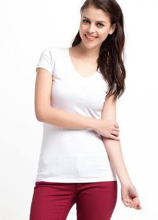 Женская футболка белая de facto / де факто с v-образным вырезом