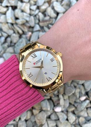 Женские наручные металлические часы curren blanche каррен золо...