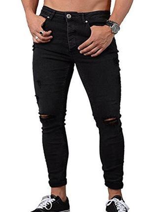 Черные плотные мужские джинсы скинни с дырками на коленях высо...