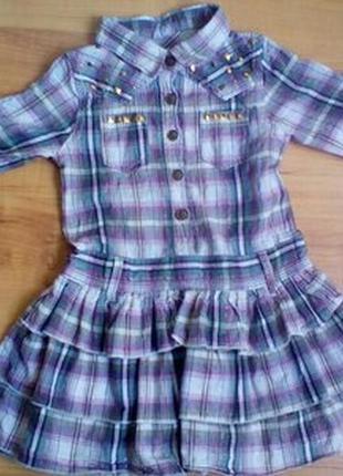 Платье в клетку рубашечного кроя на 2-3 годика