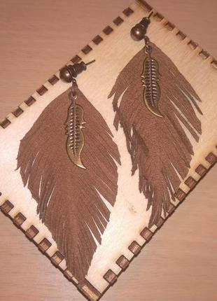 Серьги ручной работы из натуральной кожи