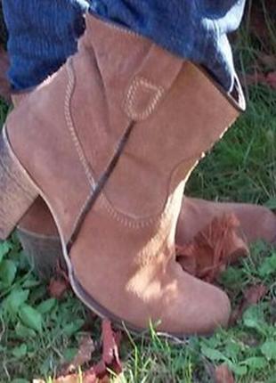 Кожаные ботинки, ковбойский стиль, замша