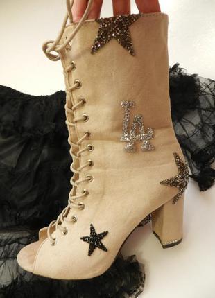 Летние ботинки  в стразах