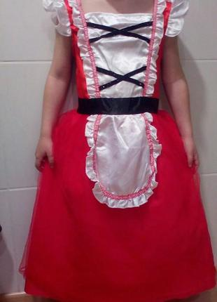 Карнавальное платье красная шапочка на 6-9 лет