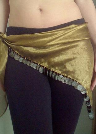 Золотистый пояс,платок с монетами для восточных танцев живота