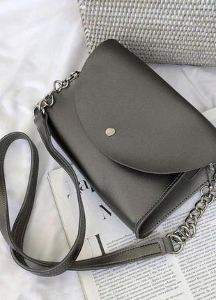 Поясная сумка - клатч серебро