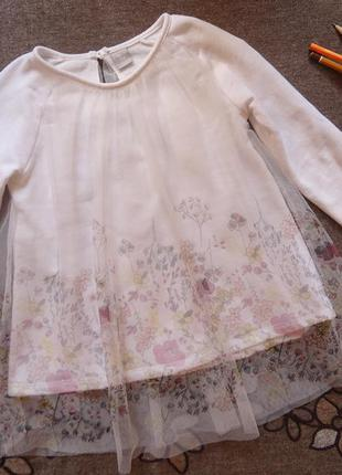 Платье туника с кружевом