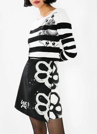 Очень красивая,черно-белая юбка а-силуэт на запах,desigual