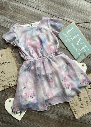 Платье нежное с единорогами tu 4-5л
