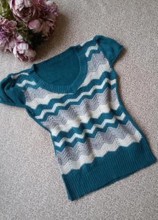 Кофта кофточка свитер зигзаги с коротким рукавом фонариком
