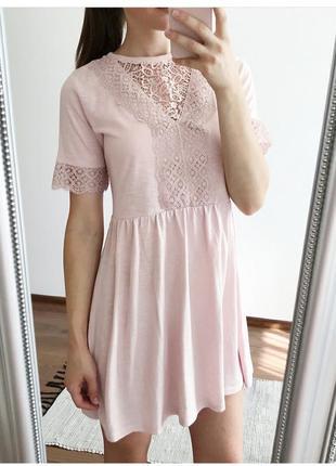 Очаровательное пудровое платье topshop с кружевной отделкой