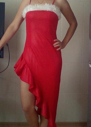 Новогоднее вечернее платье с мехом