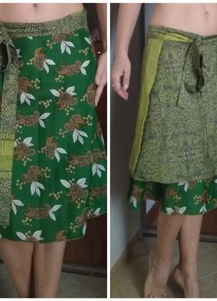 Двухсторонняя индийская юбка шёлк
